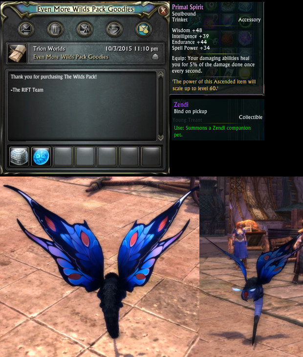 The Wilds Pack Zendi Companion Pet Primal Trinket