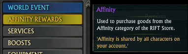 Affinity Rewards Tab and Tooltip