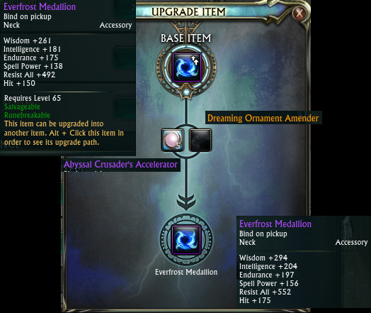 PTS Updat 19th Nov 3.5 Fae Yule Level 65 Necklace Upgrade