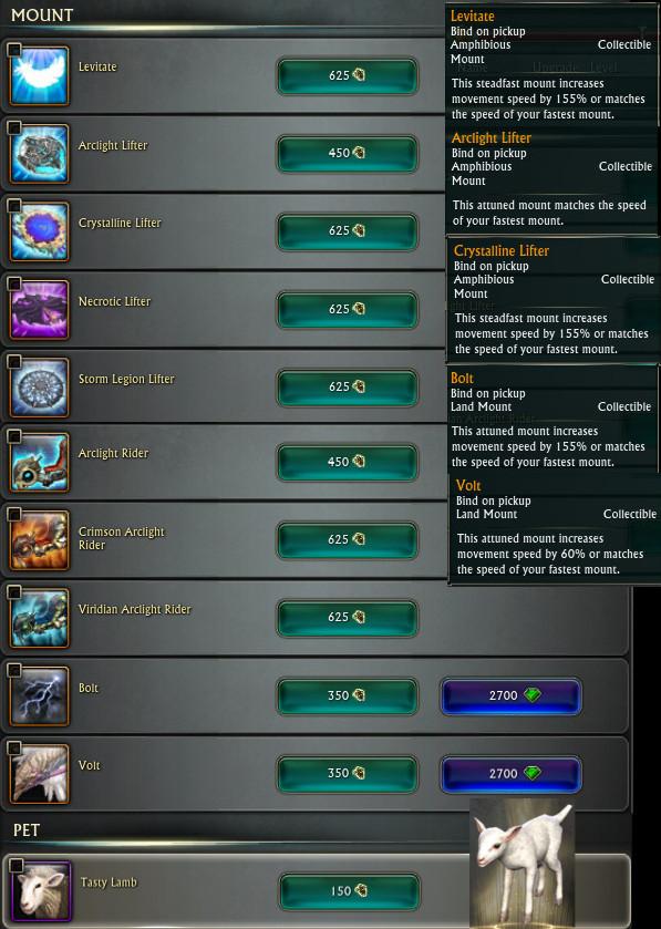 PTS Update 19th Nov 3.5 Affinity Rewards