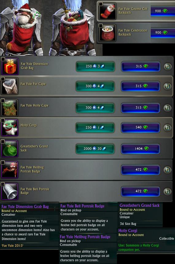 PTS Update 19th Nov 3.5 Fae Yule Store Items General