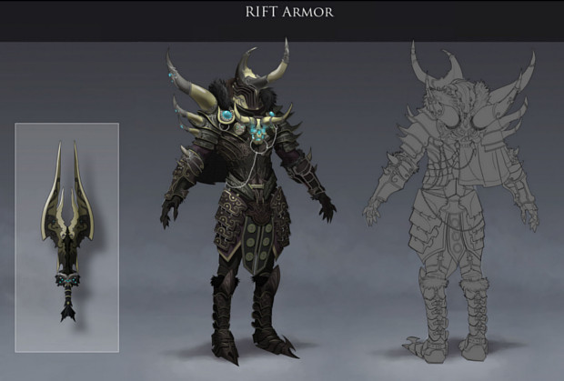 RIFT Concept Art Horned Skull Armor and Weapon by Julien Renoult