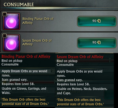RIFT Dream Orb of Affinity PTS