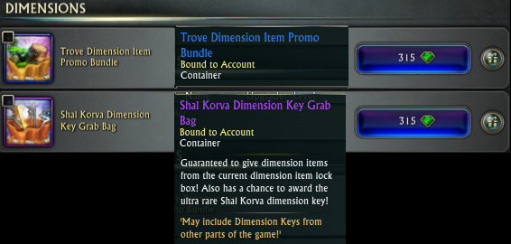 Trove and Shal Korva Dimension Grab Bag