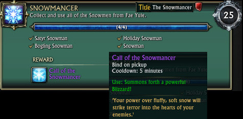 RIFT Fae Yule Achievements Snowmancer