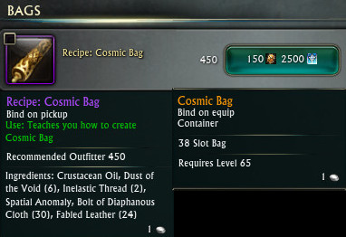 RIFT Recipe Cosmic Bag