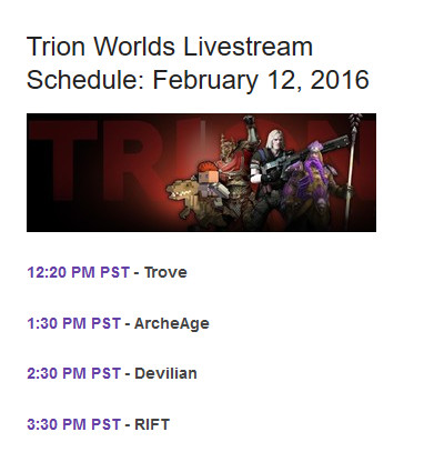 Trion Livestream Schedule Feb 12th 2016